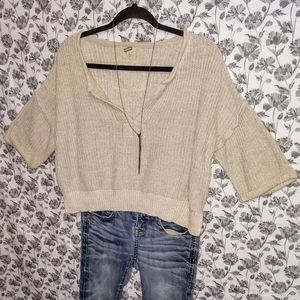 Gimmicks- Cream/Knit Cropped 3/4 Sleeve Sweater